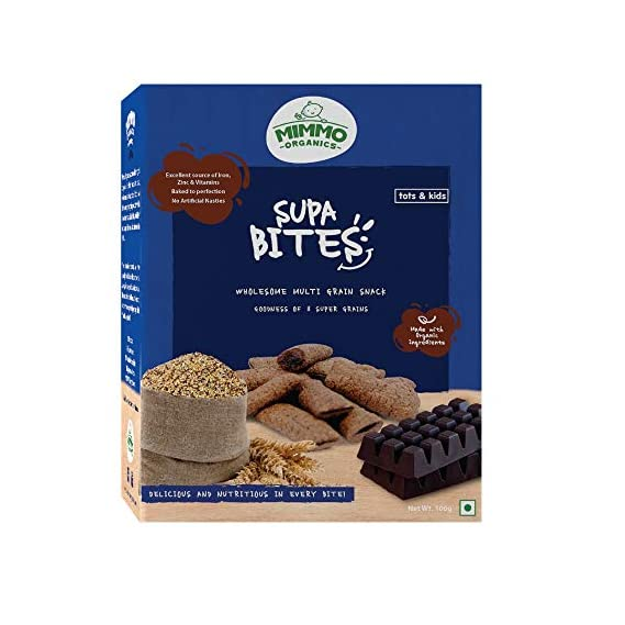 Mimmo Organics Supa Bites Multigrain Snack for Tots & Kid's, 100 g (Pack Of 2)