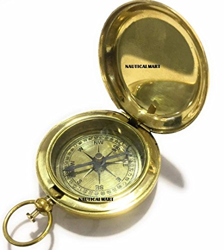 NauticalMart Brass Pocket Compass Pirate - NauticalMart