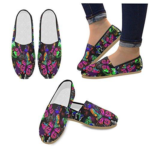 D-story Mode Sneakers Lägenheter Kvinna Klassisk Slip-on Canvas Skor Loafers Fjäril