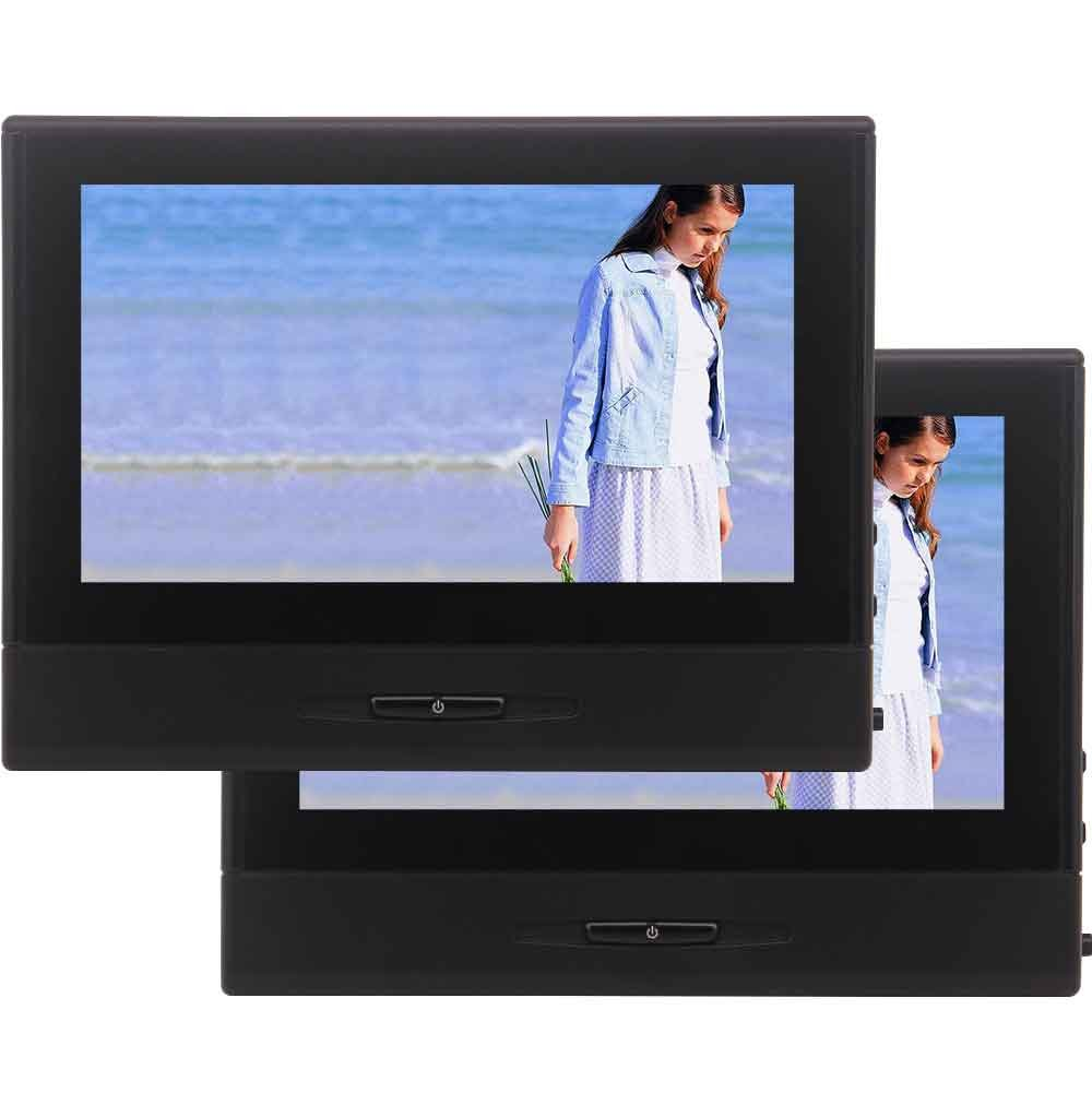 タッチキーデジタルTFT LCDスクリーンタブレットスタイル後部座席ヘッドレストサポートUSB / SD / MMC /ゲーム/ IR / FMトランスミッター/スピーカー+リモコン付き2PCS 8インチ車ヘッドレスト画面モニターDVDプレーヤー B0787Y8TVW