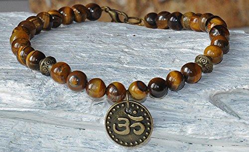 Tiger's Eye Energy Chakra Gemstone Beaded Anklet, Boho Jewelry, Boho Anklet, Crystal Anklet, Energy Healing, OM Yoga Bracelet,