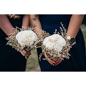 Small Rustic Wedding Bridesmaids Bouquets Made of Ivory Flowers Dried Limonium Burlap Lace and Pearl Pins 2