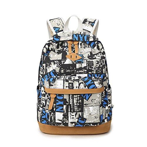 Canvas Studentensegeltuch Rucksack Rucksack Fashion für Schwarz Schulrucksack Inwagui Teenager Mädchen qEHwCvB