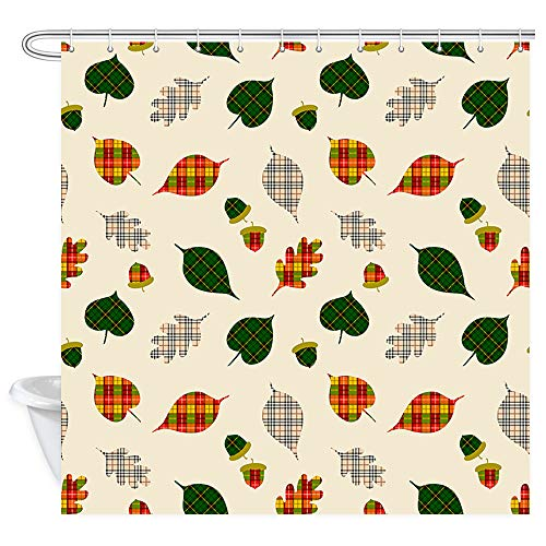 NYMB Fall Leaves Shower Curtain for Bathroom, Fall Autumn Pine Leaves Acorn Pattern in English Tartan Plaid Print Wallpaper Shower Curtain, Fabric Bathroom Curtain with Shower Curtain 12PCS Hooks ()