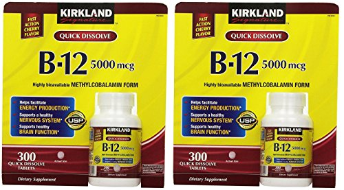Kirkland Signature Sublingual B-12 5000 mcg, 300 Tablets (2 Pack)