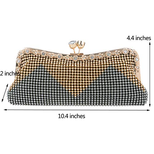Ladies Dress Wallet Chain Evening Womens Bags Party Bags Clutch Purse Grey Wedding Shoulder 6xwg5wO0
