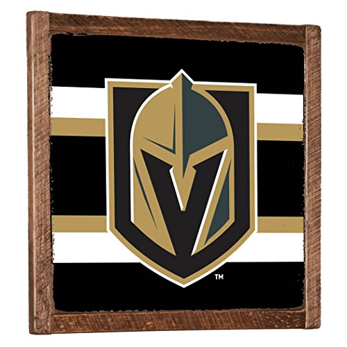 (Rustic Marlin Designs NHL Vegas Golden Knights Vintage Wall Art with Team Stripe, Black, 27