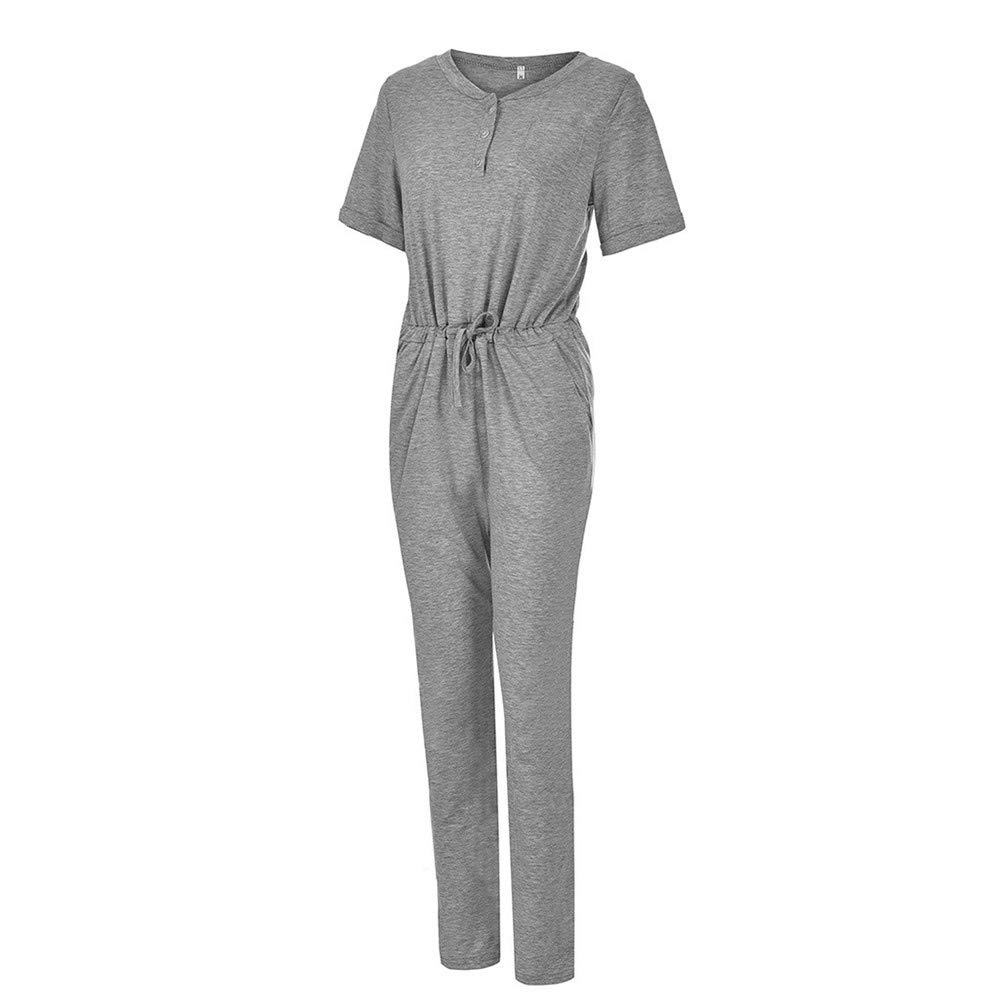 Women V Neck Sashes Casual Jumpsuit Summer Button Loose Long Pants Casual Rompers with Pockets Big Size 5XL,Black,XXXL,United States
