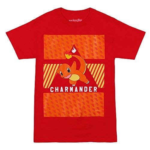 Pokemon Charmander Pattern Box T-shirt (Large,Red)