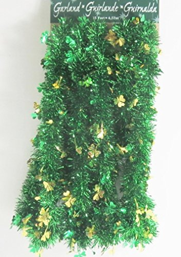 St Patrick Day Green Garland Shamrocks Party Garland -15 Feet Long (Green / Gold Green Clovers)