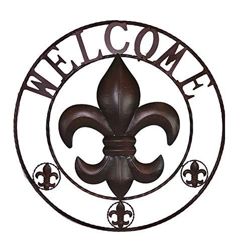 AR Country Store Fleur De Lis Welcome Metal Circle