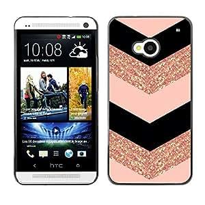 Planetar® ( Chevron Dress Fashion Glitter Gold Pattern ) HTC One M7 Fundas Cover Cubre Hard Case Cover