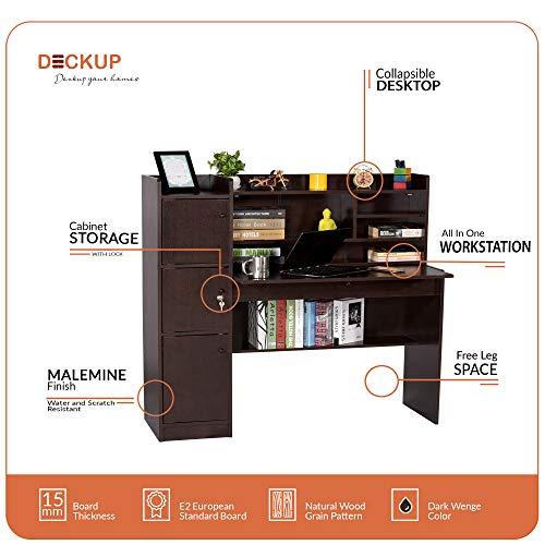 Deckup Versa Study Table and Office Desk (Dark Wenge, Matte Finish)