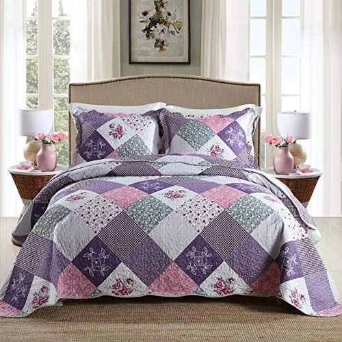 Qucover Pastoral Floral Patchwork Bedspread Quilts Set Coverlets Queen for All Season (Included 1 Quilt, 2 Shams)