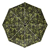 Green Military Camouflage Texture Compact Travel Inverted Umbrella, Outdoor Rain Sun Car Folding Reversible Umbrellas for Windproof, Reinforced Canopy, UV Protection, Ergonomic Handle, Auto Open/Close