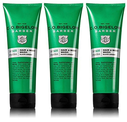 C.O. Bigelow Barber, Men's Hair and Body Wash Elixir Green, No. 1606, 3 Pack