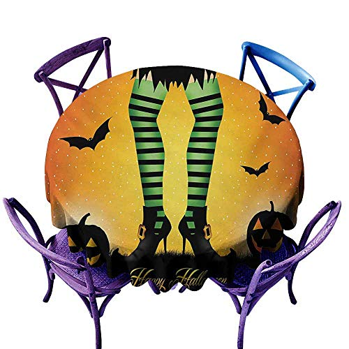 - Zodel Water Resistant Table Cloth,Halloween Cartoon Witch Legs with Striped Leggings Western Concept Bats and Pumpkins Print,for Events Party Restaurant Dining Table Cover,63 INCH,Multicolor