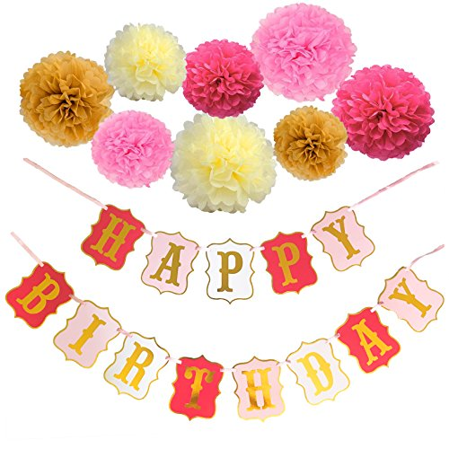Malanka Happy Birthday Banner Decoration - 8 Colorful Paper Pom Poms Set - Large Letters with Pink Cream and Gold Colors - Any Age 1st 16 18 21 30 40 50 - Girl Birthday Party Decorations Kit