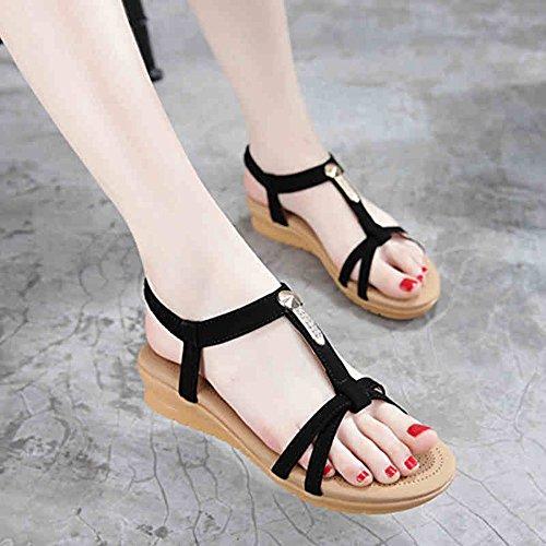 Lixiong Tamaño uk7 Plano 4cm color rosa Sandalias De negro Casual Comfort Spring Negro Portátil Alto zapatos cn41 Moda Eu40 Pu Pink Talón HTYrHqw