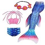 (US) 3PCS Girls' Swimsuit Mermaid Tail for Swimming Tropical Bikini Set Support Monofin (Child L/7-8, b flyfins)