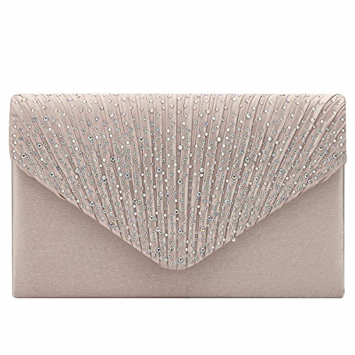Evening Bag Satin Women Rhinestone Party for Clutch Ladies Envelope Champagne YiZYiF Prom w8YqE7q