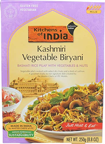 - Kitchens Of India Ready to Eat Kashmiri Vegetable Biryani, Basmati Rice Pilaf with Vegetables & Nuts, 8.8-Ounces (Pack of 6)