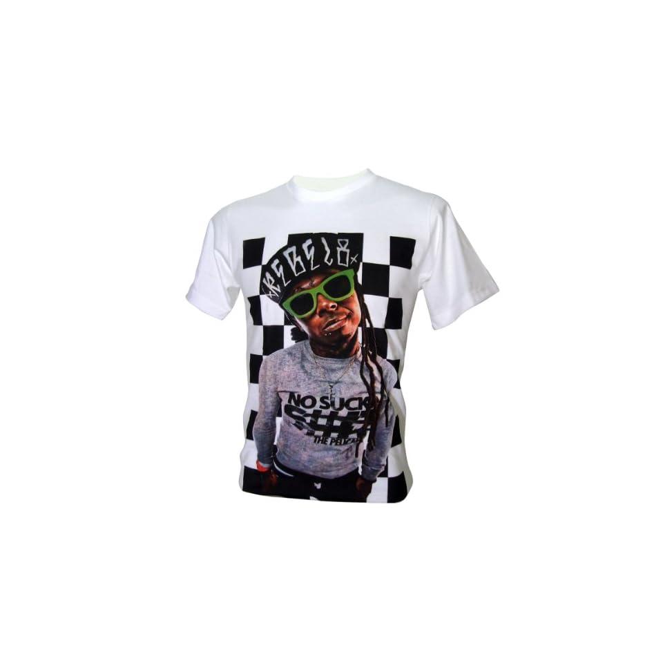 Lectro Mens LIL Wayne Weezy Carter Rapper T Shirt V4 White Medium