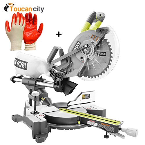 Ryobi 18-Volt ONE+ONE Cordless Brushless 10 in. Dual Bevel Sliding Miter Saw (Tool-Only) P3650B and Toucan City Nitrile Dip Gloves(5-Pack)