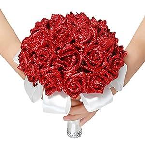 Dreamyth Crystal Roses Pearl Bridesmaid Wedding Bouquet Bridal Artificial Silk Flowers Decor 102