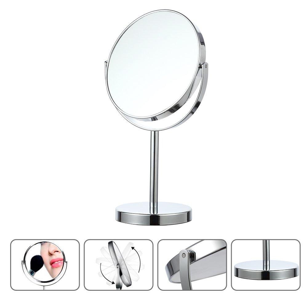 LinTimes Vanity Mirror, 5X Magnifying Makeup Mirror, Tabletop Cosmetic Mirror, Silver