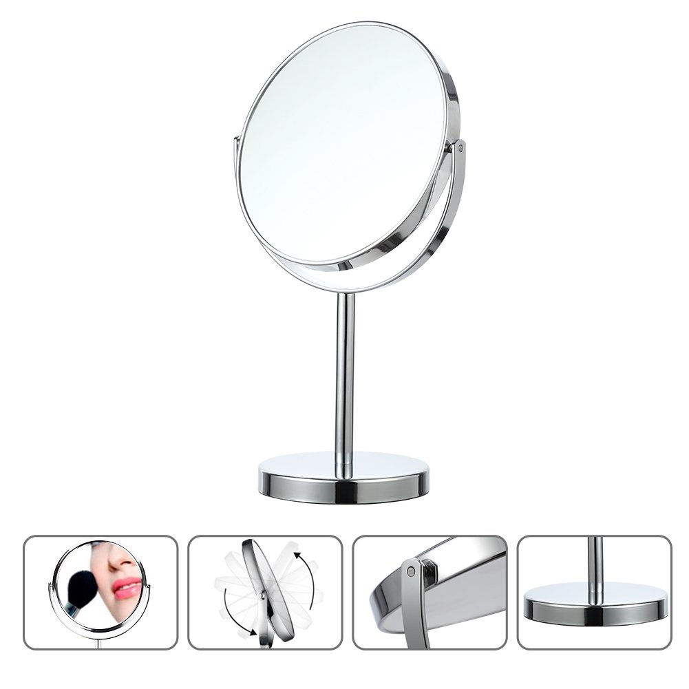 LinTimes Vanity Mirror, 5X Magnifying Makeup Mirror, Tabletop Cosmetic Mirror, Silver