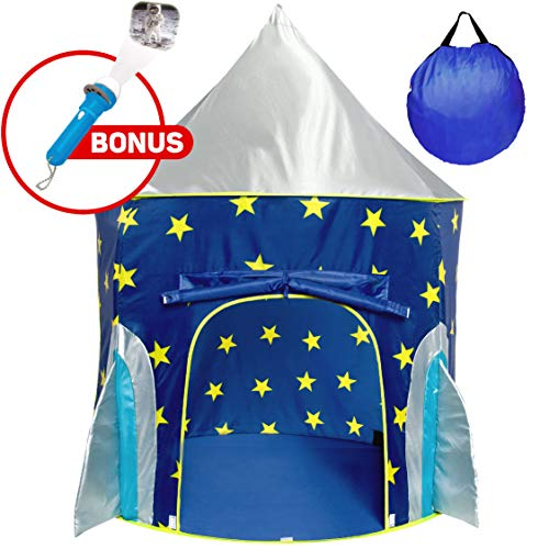 USA Toyz Rocketship Play Tent for Boys and Girls - Space-Themed Playhouse Kids Tent w/ Projector Toy and Tent Carry Case (Set The Thomas Train Tent)