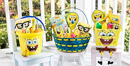 MAG Holdings My Favorite Friends Easter Gift Basket - Filled with Character Occasion Themed Stuffers, Chocolate, Candy, Treats, Toys, Activities, Games for Kids, Boys & Girls (Spongebob Squarepants) -