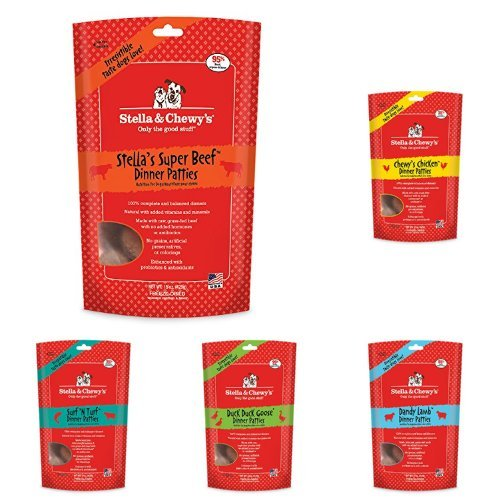 Stella & Chewy's Freeze-Dried Raw Dinner Patties Dog Food Variety Pack of 5 (Beef, Chicken, Duck, Lamb and Surf n' Turf), 15 oz. each by