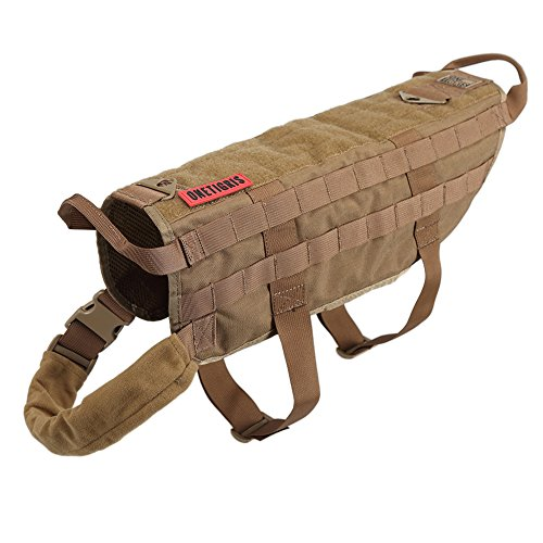 OneTigris Tactical Dog Training Vest Harness with Mesh Padding and Two Handles (Coyote Brown - Upgraded Version, L / 49cm)