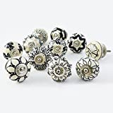 Set of 10 Assorted Vintage Black and White Hand Painted Ceramic Pumpkin and Round Knobs Cabinet Drawer Handles Pulls