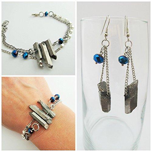 Matrix    Raw Crystal Jewelry Set   Bracelet And Earring Set   Raw Crystal Earring And Bracelet Set