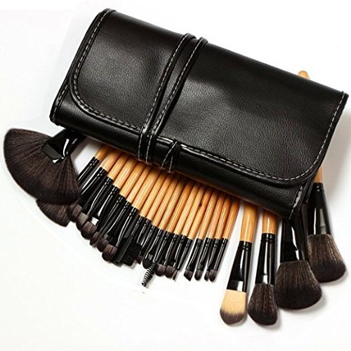 KLAREN Professional 24 Piece All Natural Real Hair Makeup Brush Set - Handle Pcs Cosmetic Beauty Brushes Kit - Make Up Leather Organizer Case / Bag (Washer Dryer Warranty)