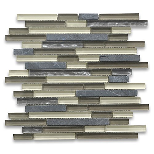 Tan Beige Grey Glass Mix Gray Slate Random Brick Mosaic Tile