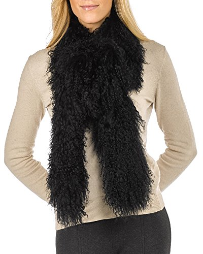Long Tibetan Lamb Fur Scarf - Black