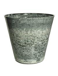 Listo CeramaStone Resin Pottery Planter, 11-Inch, Black Storm with Gloss