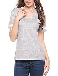Meaneor Women V Neck Striped Short Sleeve Basic Varsity Football Tee T-Shirt