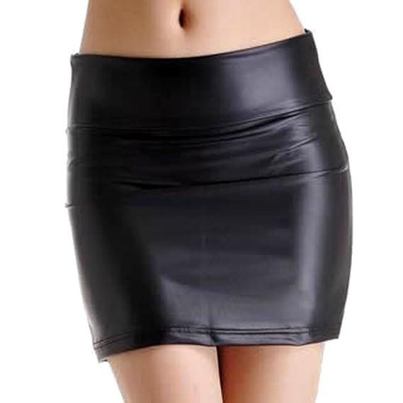 LSERVER-Falda de Cuero Ajustado para Las Mujeres: Amazon.es: Ropa ...