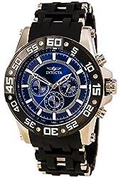 Invicta Men's Sea Spider Black Polyurethane Band Steel Case Swiss Quartz Blue Dial Analog Watch 22476