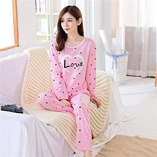 3fdd7ff5d HITSAN Tops Women Pajamas Set Two Peice Clothes and Pants Plus Size Animal  and Flower Sleepwear Nightgown Warm Soft Pink Love Size L: Amazon.in:  Clothing & ...