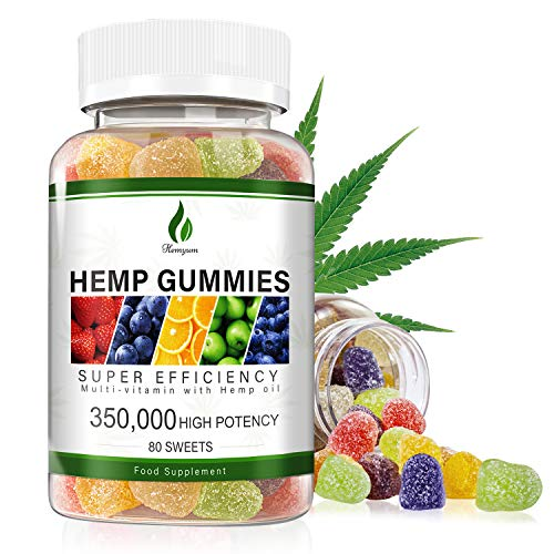 Hemp Gummies 350000MG for Reduce Restless Mood, High Potency-Natural Hemp Seed Extract Improve Skin & Hair, Rich in Omega 3&6&9 Fatty Acids for Provides Restful Sleep