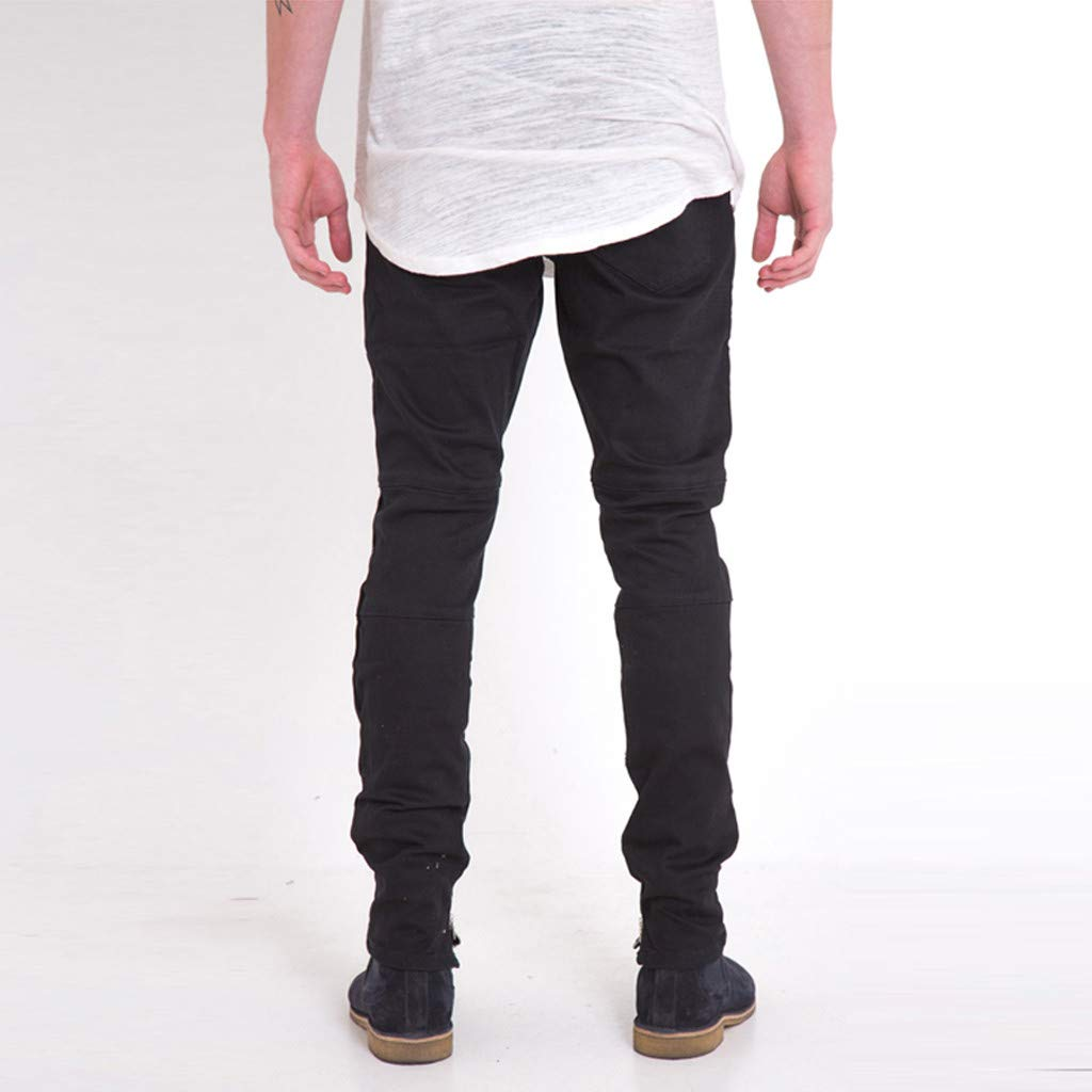 KASAAS Distressed Jeans for Men Solid Casual Pants Side Zipper Pockets Fashion Elastic Cotton Denim Long Skinny Slacks