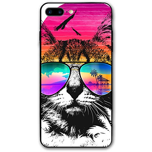 iPhone 7/8 Plus Case Funny Ganster Cat Printed Black/Transparent Plastic with Durable Bumper Protective Back Phone Case Cover for Apple iPhone 7/8 Plus(5.5 Inch) ()
