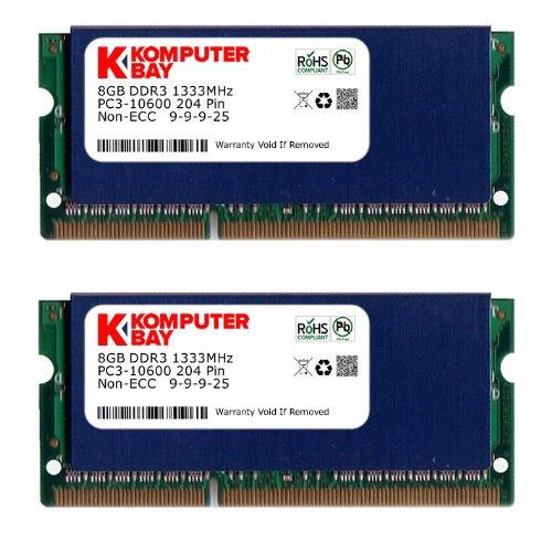 All Components Laptop Memory - Komputerbay 16GB (2x 8GB) DDR3 PC3-10600 10666 1333MHz SODIMM 204-Pin Laptop ...