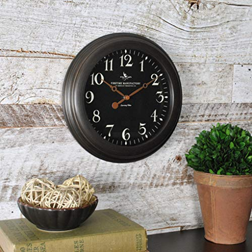 (FirsTime & Co. 25631 FirsTime Black Onyx Wall Clock, 8.5